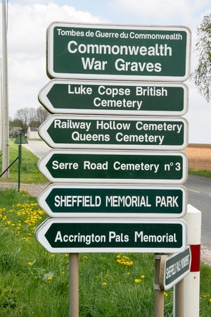 Roadside direction signs for the many Commonwealth War Graves on the Serre Road where many died during the first days of the Somme offensive attacking nearby Serre a German stronghold