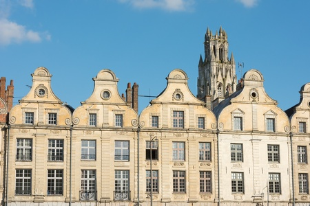 Arras France Flemish style buildings in the main square of Grande Place. Stock Photo