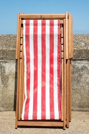 Deckchairs ready for use at a typical English seaside promenade  Stock Photo