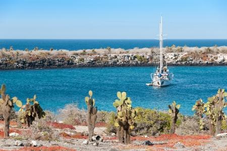 Yacht at anchor Santa Cruz island in the Galapagos