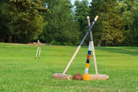 set up: Croquet equipment set up ready for use.