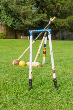 Croquet equipment set up ready for use. Banco de Imagens - 22083399