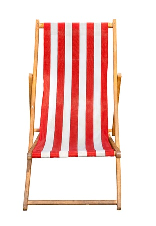 Red and white striped deckchair isolated on a white background Stock Photo