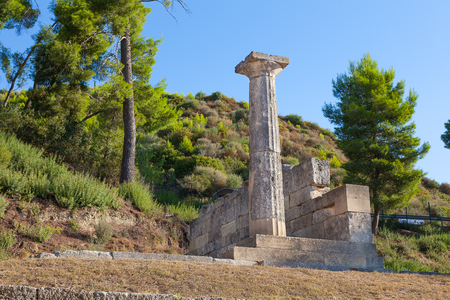 athenians: Stone column and ruins Olympia Greece
