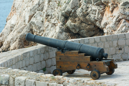 Cannon on the town walls of Dubrovnik Stock Photo