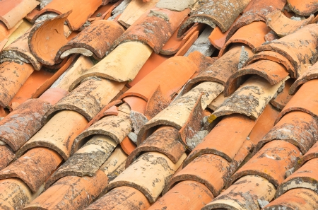 damaged roof: Closeup of old and damaged roof tiles in Dubrovnik