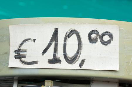 Hand written price tag for ten euros Stock Photo