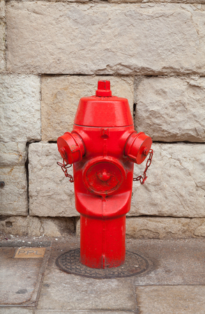Red fire hydrant in front of a stone wall photo