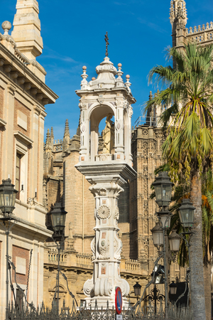 mary and jesus: Mary Jesus Statue Cross near Seville Cathedral Spain