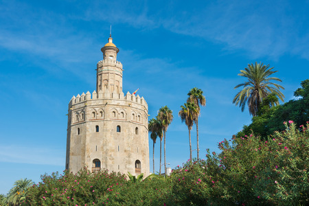 The Golden Tower overlooking the river in Seville Spain.