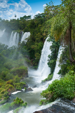 bordering: Iguassu waterfalls bordering Argentina Brazil Stock Photo