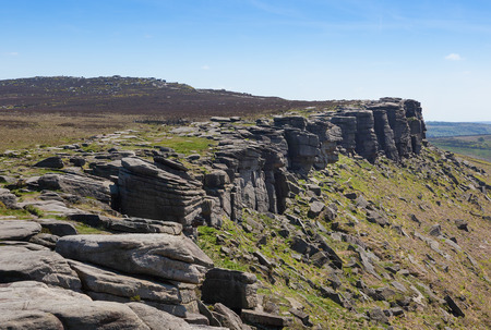 Stanage Edge in Derbyshire Peak District England Banco de Imagens