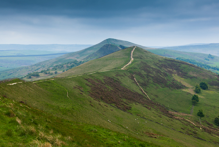 View along Mam Tor Derbyshire England with stormy sky photo