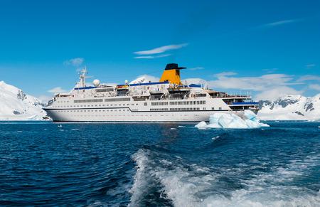 Cruise liner in Antarctica