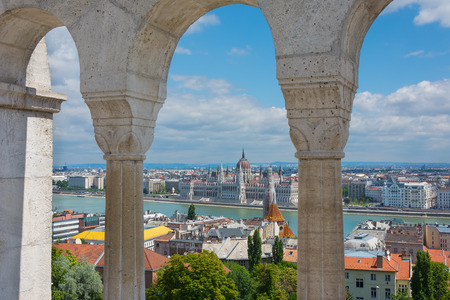 View through the arches at the Fishermans Bastion Budapest Hungary Stock Photo