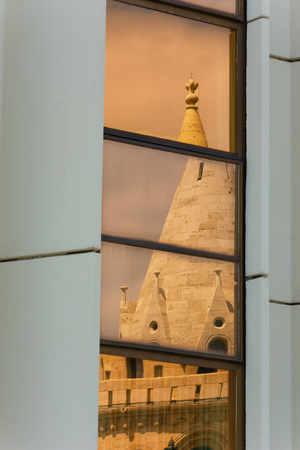 bastion: Reflection Fishermans Bastion Budapest Hungary