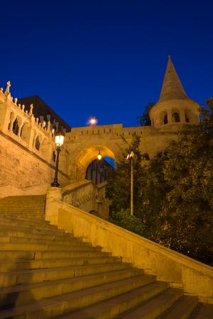 The Fishermans Bastion Budapest Hungary Illuminated at Night