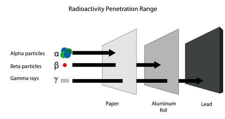 penetracion: El rango de penetraci�n de alfa beta y radiaci�n gamma. Vectores