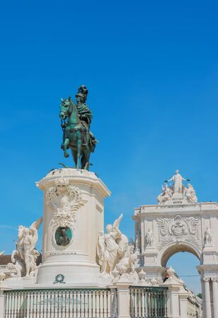 Commerce Square with statue of King Jose and the triumphal arch Lisbon Portugal