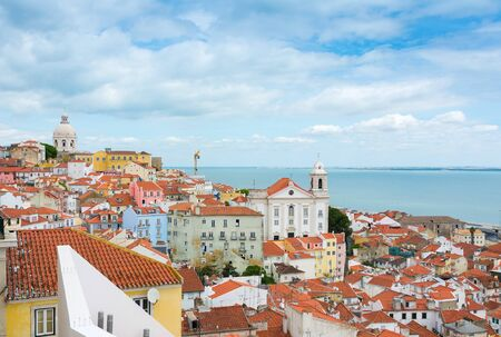 Cityscape view of Lisbon Portugal over the Alfama District.