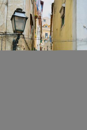 backstreet: View along typical backstreet in Lisbon Portugal