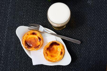Pastel de Belem or Nata, typical Portuguese egg tart pastry Stock Photo