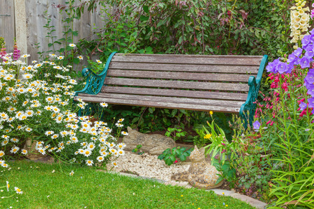cottage garden: Cottage garden with bench and mixed flowers.