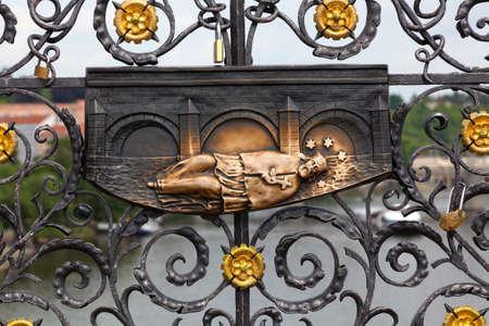 plaque: Plaque of St. John of Nepomuk Prague Czech Republic. Rubbing the plaque brings good luck. Stock Photo
