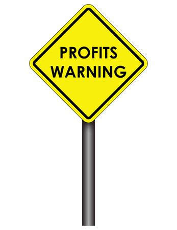 bearish business: US style yellow traffic sign with Profit Warning legend