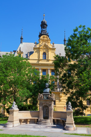 poet: Charles Square New Town area of Prague Czech Republic with bust of Vitezslav Halek a poet and writer.