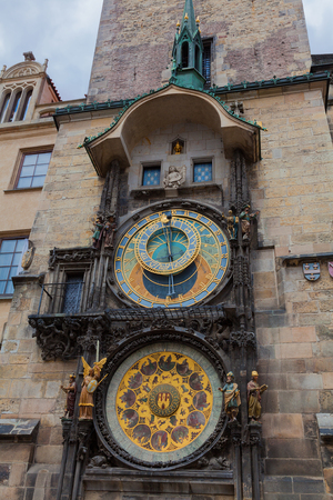 cronologia: The Astronomical clock in the Old Town Square Prague a detail of the clock-face.