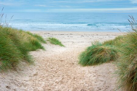 Footpath through sand dunes to the sea with blue sky ahead Stock Photo