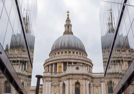 St Pauls Cathedral in London, against a cloudy sky. By the architect Sir Christopher Wren. Stock Photo