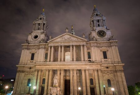 St Paul's Cathedral in London, against a cloudy sky at night. Showing the front facade by Sir Christopher Wren. Banco de Imagens - 67084227