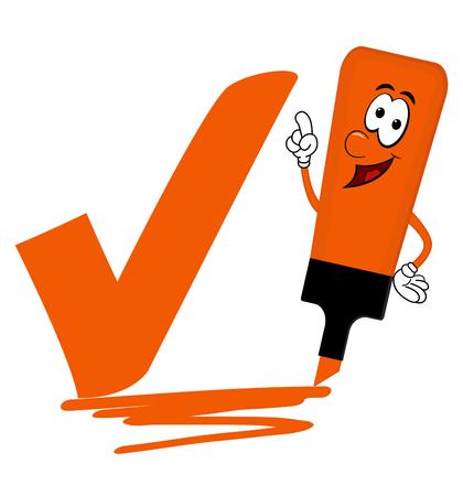 Single orange cartoon highlighter pen with bold tick or check mark