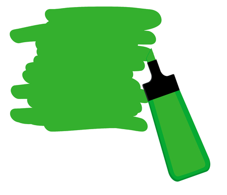 Single green highlighter pen with hand drawn area to highlight text. Illustration