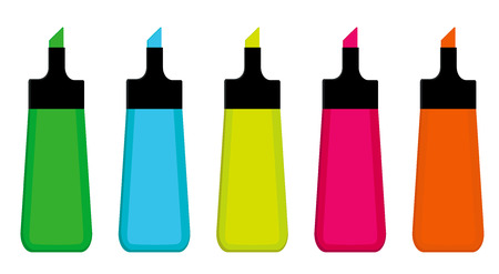 Collection of five highlighter pens: green; blue; yellow; pink;orange