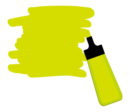 Single yellow highlighter pen with hand drawn area to highlight text. Illustration