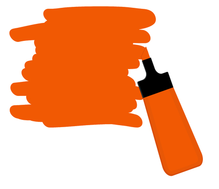 Single orange highlighter pen with hand drawn area to highlight text.