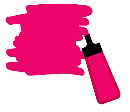 Single rosa Textmarker Stift mit Hand gezeichnet Bereich, um Text zu markieren.