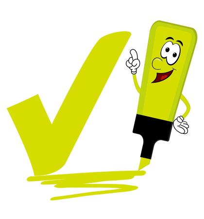 Single yellow cartoon highlighter pen with bold tick or check mark Ilustração
