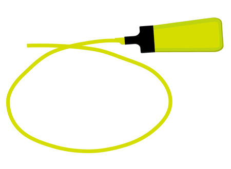 Single yellow highlighter pen with hand drawn yellow circle to highlight text. Illustration
