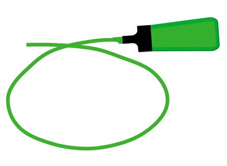 Single green highlighter pen with hand drawn green circle to highlight text. Ilustração