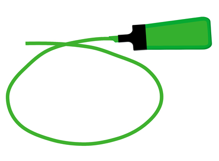 Single green highlighter pen with hand drawn green circle to highlight text. Illustration