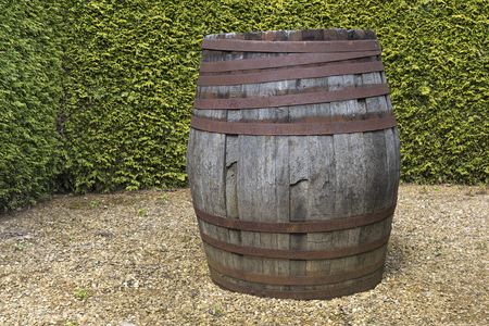 Old wooden barrel standing in front of green tall bushes. Banco de Imagens - 101867150
