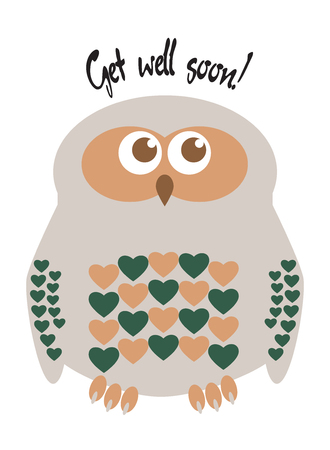 Owl cute character with hearts for feathers greeting card with text  Get well soon!. Editable labelled layers. Illustration