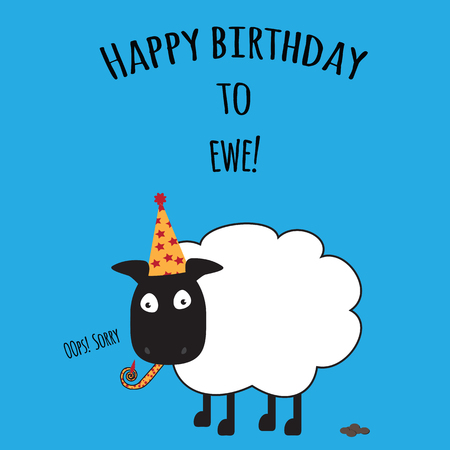 Birthday card with Happy Birthday to Ewe with cute sheep image Banco de Imagens - 101151603