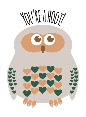 Owl cute character with hearts for feathers greeting card with text