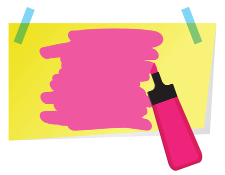 Sticky note with pink highlighter pen and shading to highlight text. Banco de Imagens - 101151627