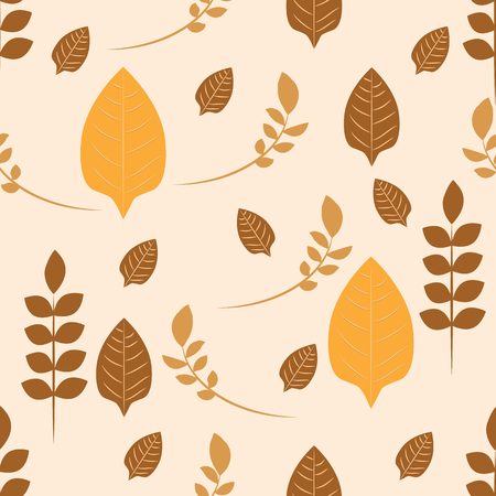 Repeat pattern of autumn leaves and stems on beige background. Ideal for curtains or soft fabrics.